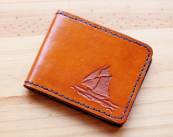 Ship Wallet Hand Carved Leather Wallet Leather Bifold Wallet Nautical Gift Husband Yacht Leather Billfold Wallet Gift Dad Credit Card Wallet