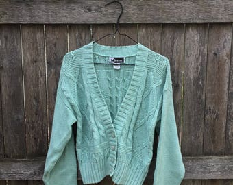 Mint Cardigan Cable Knit Sweater