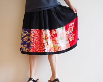 Patch-worked Skirt with Vintage Japanese Kimono Fabrics <RS13S09-002>