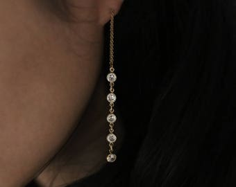 CZ dangle and drop Thread Earrings // Dangling Diamond Ear Threader // Threader earrings, gold statement hoops // Perfect Gift for Her