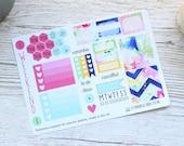 Blume Burst Mini glücklich Planner wöchentliche Kit; Mini Kit ist; Funktionale Sticker; Vinyl Matt; Sticker; Sommer-Kit; Blume-Kit; Filofax