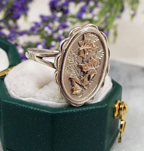 Antique Victorian Sterling Silver & Gold Panel Ring with Ivy Leaves Ring Size K