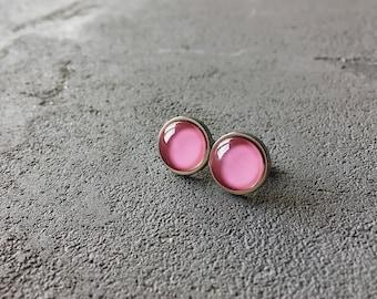 Barbie pink stud earrings, posts by CuteBirdie