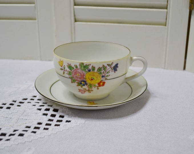 Vintage Trico Cup and Saucer Hand Painted Floral Bone China Tea Party Wedding Bridal Japan PanchosPorch
