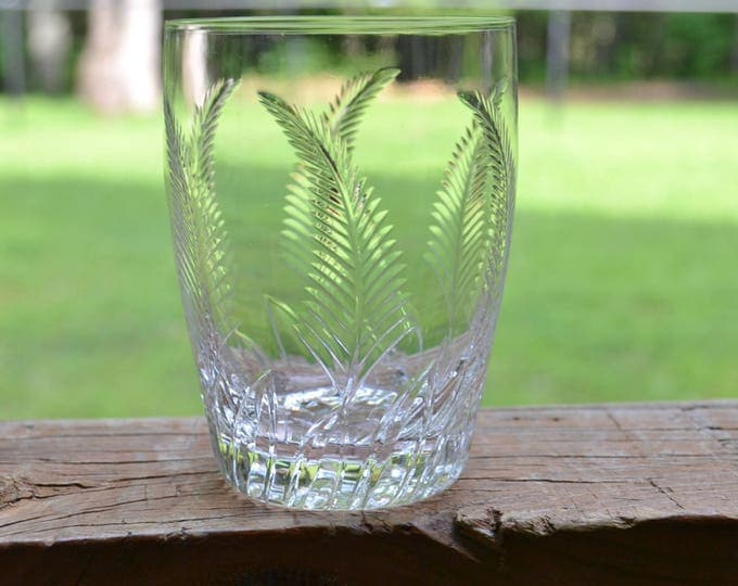 Vintage Stuart Crystal Ellesmere Juice Glass Short Tumbler Set of 8 Fern Leaf Frond Cut Crystal England PanchosPorch