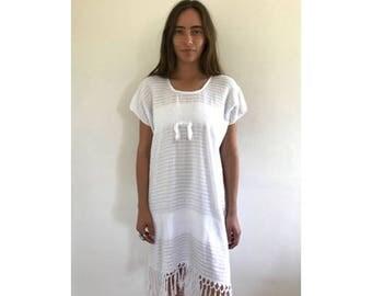 Blanco Woven Dress // vintage 70s Mexican woven cotton sun midi dress 1970s boho ethnic hippie hippy white // O/S