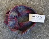Red and Grey Plaid Faux Infinity Scarf - Baby Scarf - Toddler Scarf - Flannel - Absorbent Drool Bib - Tartan Plaid - Buffalo Flannel
