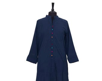 TUNIC – All sizes – Navy Tunic with multi coloured buttons – 100% cotton