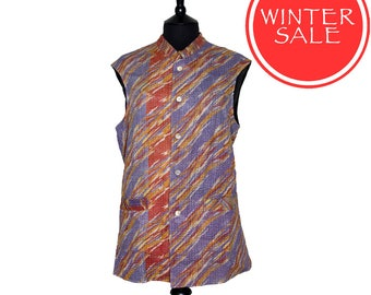 WINTER SALE - KANTHA Waistcoat - Lilac and coral. Reverse black with colour - Large size