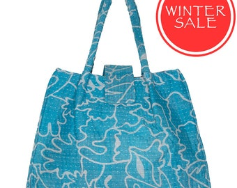 WINTER SALE - KANTHA Bag - Small - Turquoise with off white pattern