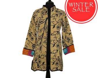 WINTER SALE - Small size - Long Kantha Jacket - Black and beige. Reverse red, orange and green.
