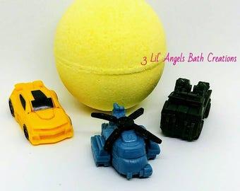 Bath Bomb With Transformers Toy Inside - Bath bomb - Kids Bath Bomb - Bath Bomb Gift - Fizzy Bath Bomb - Bath Bomb With Toy - Surprise Bath