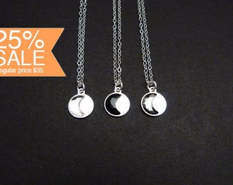 Half moon necklace - crystal moonlight - cosmos jewelry in sterling silver