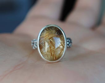 SIZE 6, Rutilated Quartz Ring, Sterling Silver Rutilated Quartz Jewelry