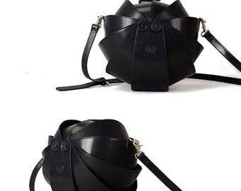 Black Crossbody Bag, Round Bag, black crossbody purse, Leather Crossbody Bag, Beetle Bags, Mens Crossbody Bag, Women Crossbody Bag
