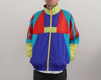 Pastel Geo Nylon Windbreaker Mens Oversized Medium