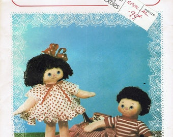 """Vintage Soft Doll Sewing Pattern - Rag Doll Sewing Pattern - Girl Doll & Boy Doll - 14"""" Tall Dolls -  Dotty And Dan - Daisymae Dolls"""