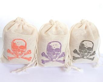 Skull and CrossBones Faces Bag Set 15 gift sack halloween party goodies treat bag