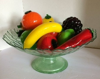 GLASS FRUIT SET in 16 Inch Bowl