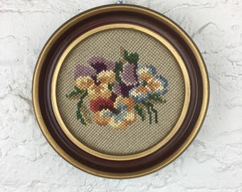 Round Floral Needlepoint