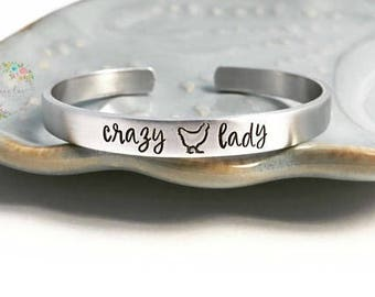 CRAZY CHICKEN LADY ~ Hand Stamped ~ Farm Life Jewelry ~ Farmer ~ Agriculture ~ Hen House ~ Farm Chick ~ Mother Clucker Cuff Bracelet ~ hlj