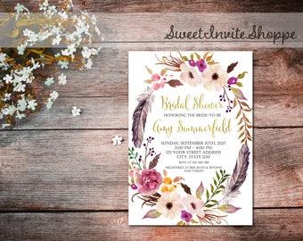 Bridal Shower Invitation, Boho Floral Bridal Shower Invitation, Floral Shower Invitation, Floral Bridal Invitation, Wedding Shower Invites