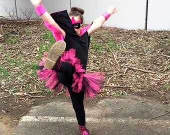 Pink and Black Satin Super Hero Cape, Mask, Belt and Cuff Set