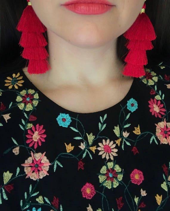 Red Regina Boho Tassel Earrings • Red Tassels • Gold Plated Brass • Artificial Silk Tassel • Handmade Earrings