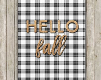 8x10 Fall Art Print, Hello Fall, Plaid Art, Fall Favorite, Rose Gold Art, Autumn Wall Art, Autumn Decor, Typography Art, Instant Download
