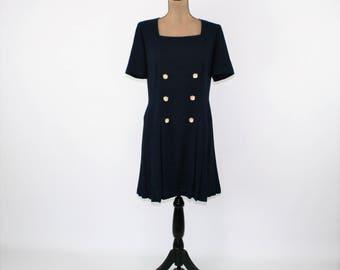 Short Sleeve Navy Blue Dress Women Large Square Neck Pleated Skirt Spring Dress Midi Sailor Dress Size 14 Dress Liz Claiborne Women Clothing