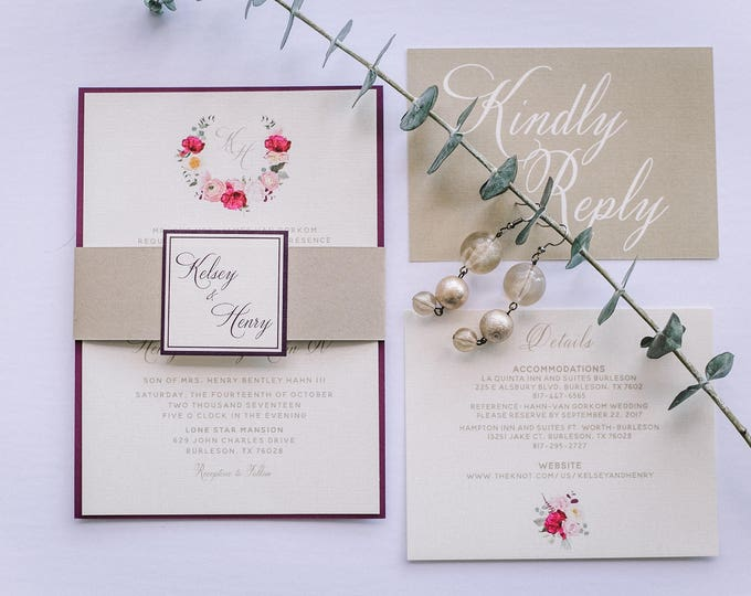 Floral Wreath Formal Burgundy Marsala Wine Red Plum and Gold Layered Wedding Invitation with Enclosure Band/Monogram & Details Insert