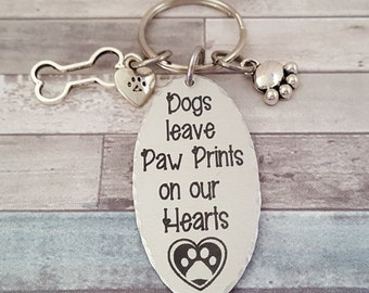 Pet Memorial Keychain- Dogs leave Paw Prints on our Hearts with a Heart with a Paw Print in the middle   Pets Name engraved on backside
