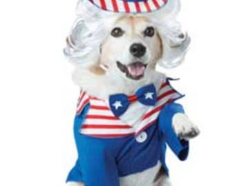 4th of July dog costume, Uncle Sam dog costume, forth of July dog costume, Dog costume, Independence day, red white and blue dog costume