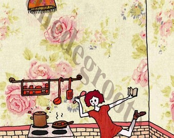 Card, dancing in the kitchen
