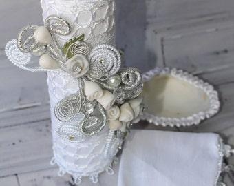 White or Ivory  Baptism Candle set style  62417