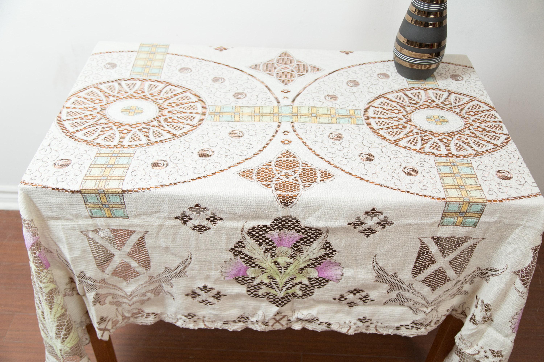 Vintage Scottish Tablecloth 1970 s Thistle Lace Ornate Floral