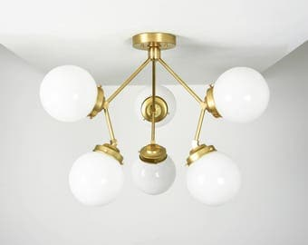 Gold Raw Brass Modern Semi Flush 3 Arm with 6 White Globes Sputnik Mid Century Semi Flush Edison Industrial Light UL Listed