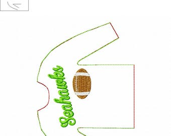 100% In the Hoop  - Seahawks - Football - Doll Sweater - 5 x 7 Only - Fleece is Suggested -  DIGITAL Embroidery Design