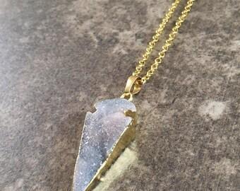 Druzy Arrowhead Necklace / Druzy Necklace / Arrowhead Necklace / Blue Arrowhead Necklace / Layering Necklace / Blue Necklace / Birthday Gift