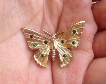 Butterfly Brooch, Green Stone Butterfly Brooch, Butterfly Pin, Rhinestone Butterfly Brooch, Rhinestone Pin,Green Stones Brooch, Gold Tone