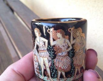 Greek mini mug, Espresso Mug, Greek Mug, Greek Cup, 24K Gold Mug, 24K Gold Greek Mug, Greek Gods Mug, Gold Miniature Mug, Greek God Cup