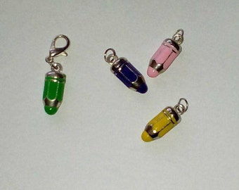 """1 """"Pencil 3D"""" Charms metal and enamel 20mm"""