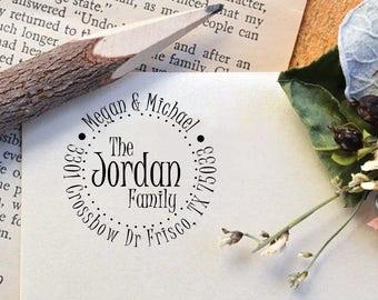 Custom Family Name Return Address Stamp, Personalized Self Inking Stamp, Custom Calligraphy Wedding Stamp, Personalized Stamp R484