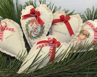 5 Customizable Christmas decorations-Heart 12 x 18 cm