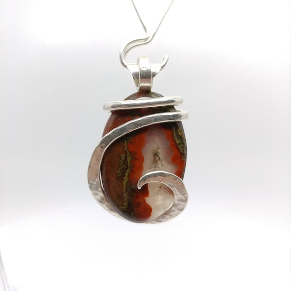 Moroccan Seam Agate Pendant | Sterling Silver | Natural Stone Necklace | Gift for Mom | Gemstone Necklace | Gemstone Pendant