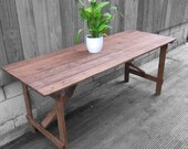 Rustic Trestle Table Folding Old Pine Vintage Desk Dining Restored