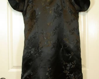 Silky Black Brocade Plus Size Asian Cheongsam Traditional Chinese Dress Midi Length