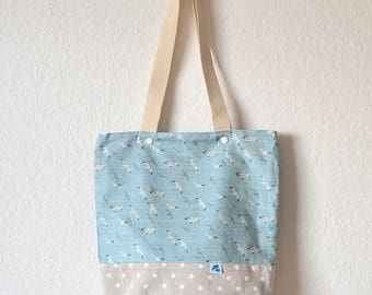 Seagull bag, Seabirds Tote bag ,gift for her, Nautical, Handmade canvas tote  with pocket, Everyday tote bag, Nautical Gift for Her