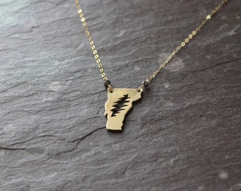 Mini Vermont state steal your face necklace / handmade hammered rustic jewelry / grateful dead furthur gift / gold brass lightning bolt