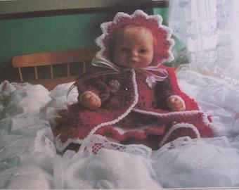 Crochet pattern for mattinee coat , dress  bonnett and shoes,